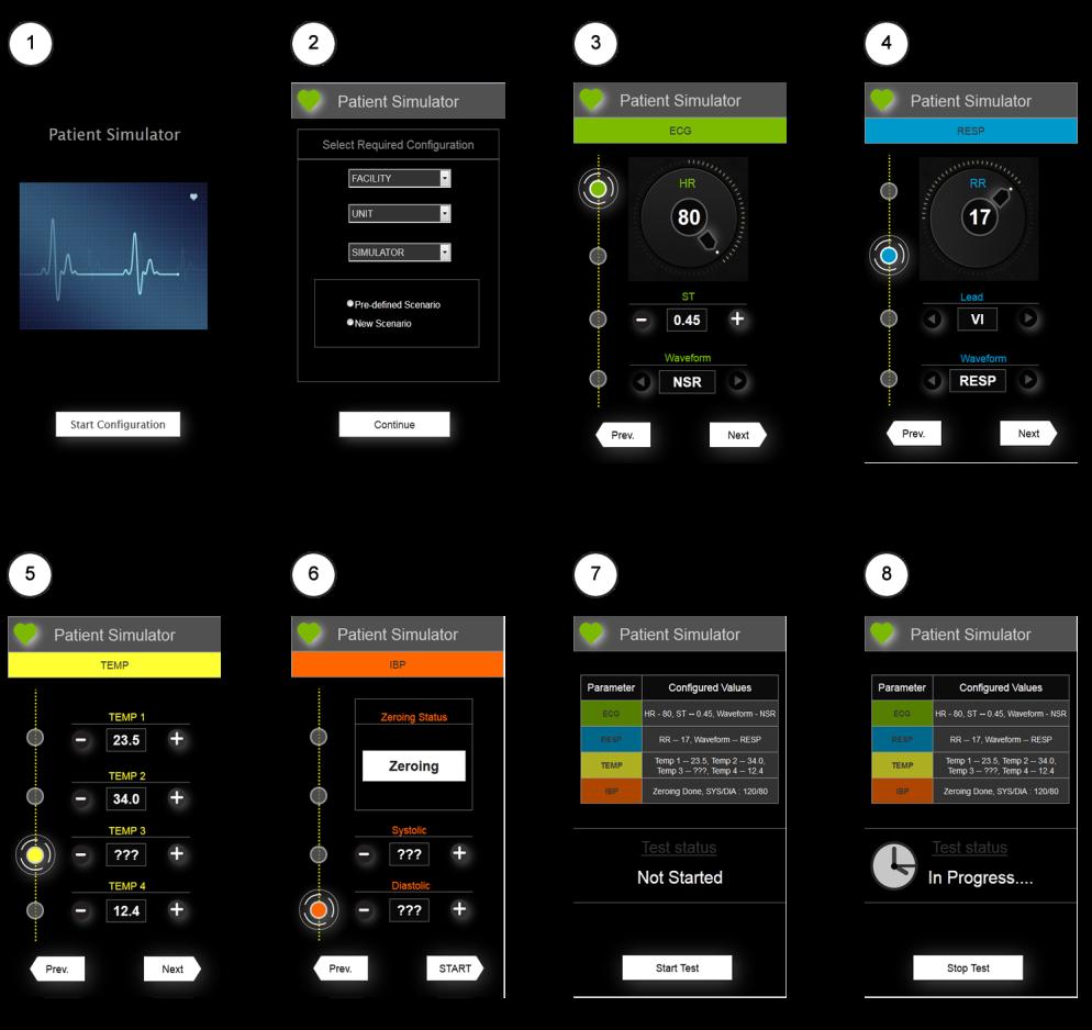 Patient Simulator Screen Flow